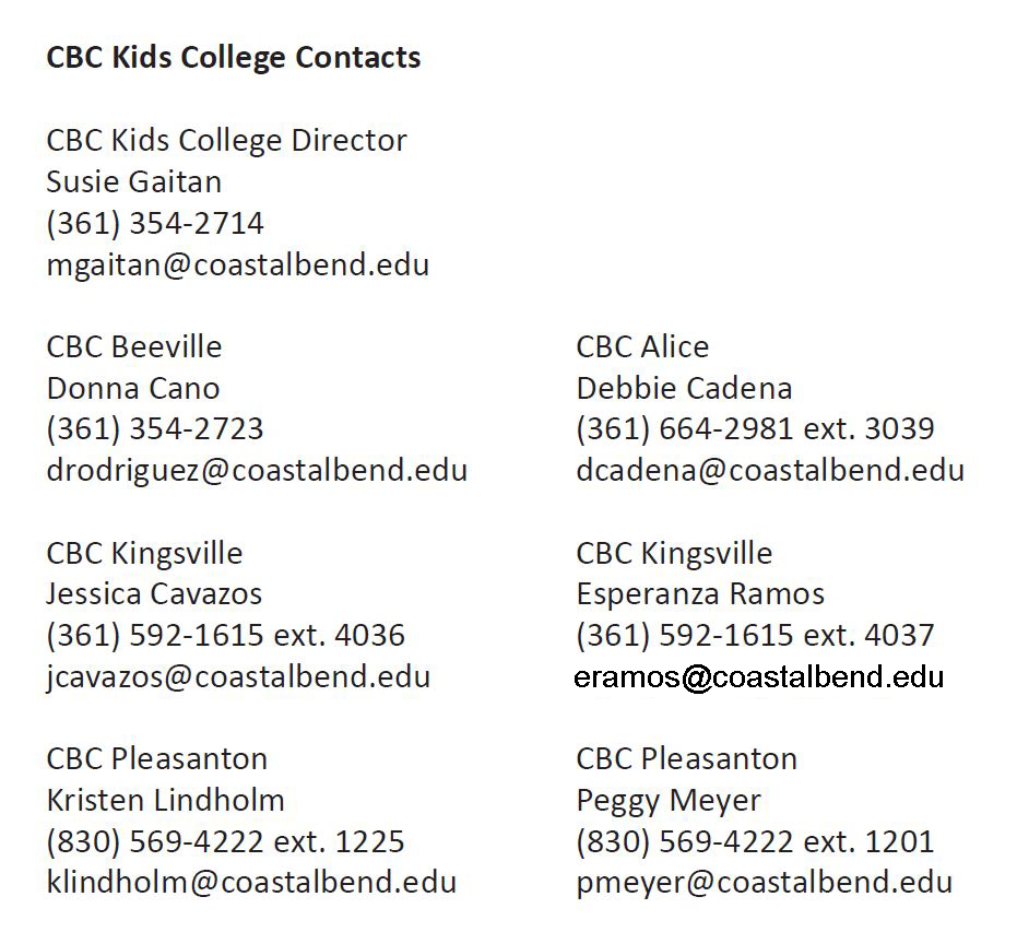 Kids College Contacts 2